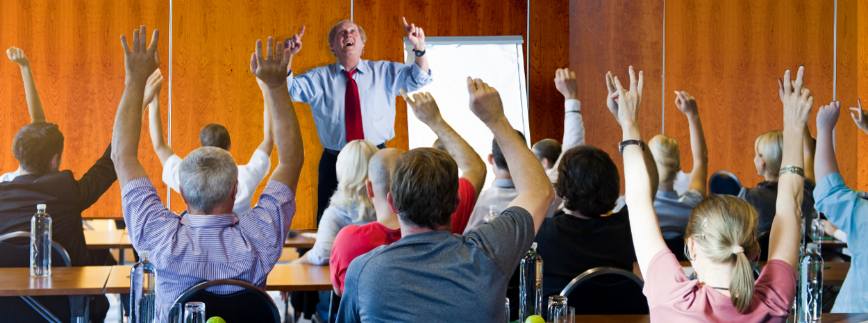Dr. Tom in a classroom.